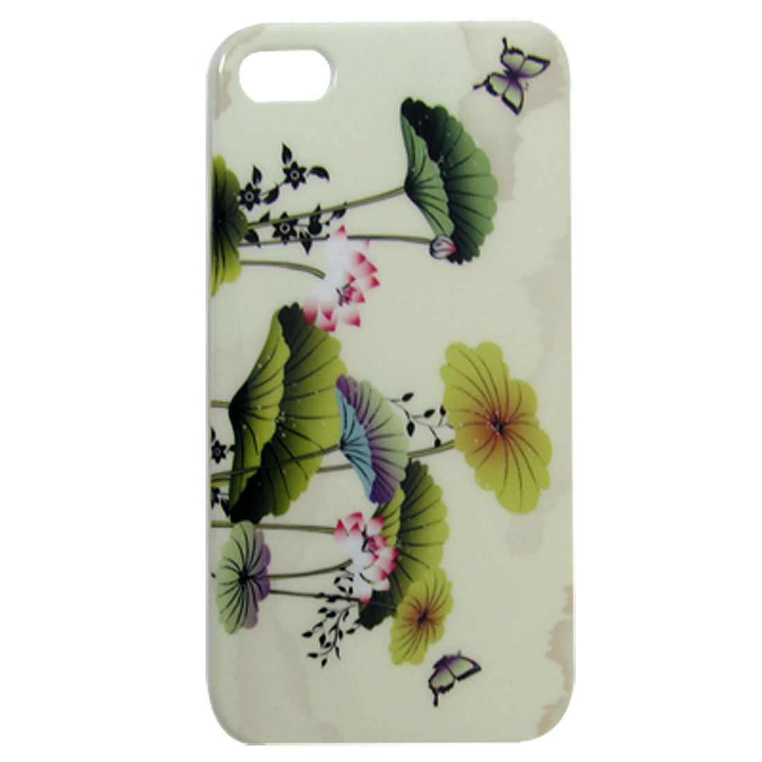 Butterflies Lotus Leaf Print Beige Back Case Protector for iPhone 4 4G 4GS 4S