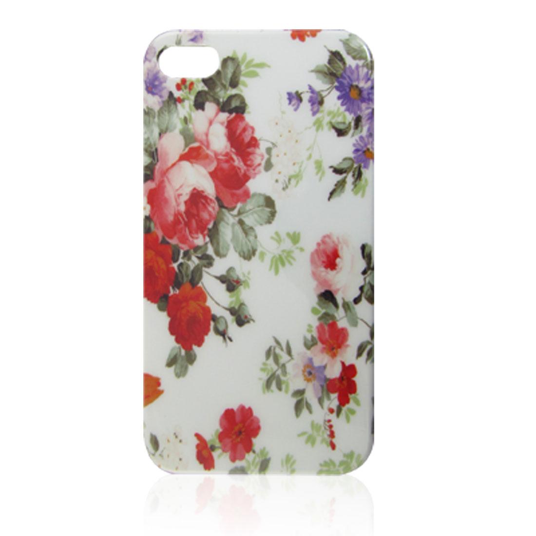 Flower Leaf Print IMD Hard Plastic Back Cover for iPhone 4 4G 4S