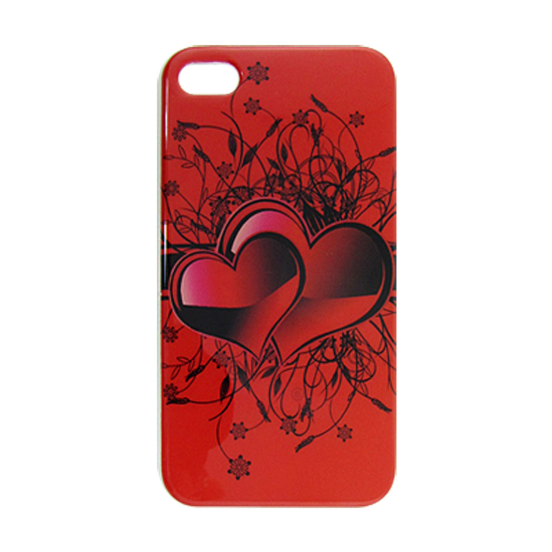 Red Hearts Floral Pattern IMD Plastic Back Hard Case for iPhone 4 4G 4S