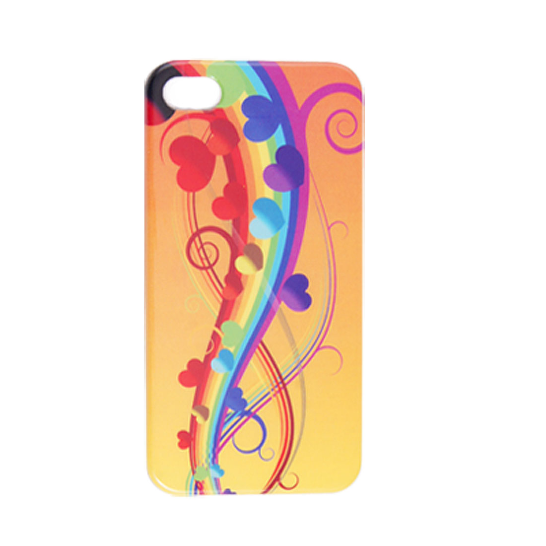 Colorful Rainbow Heart Pattern IMD Hard Plastic Cover for iPhone 4 4G 4S