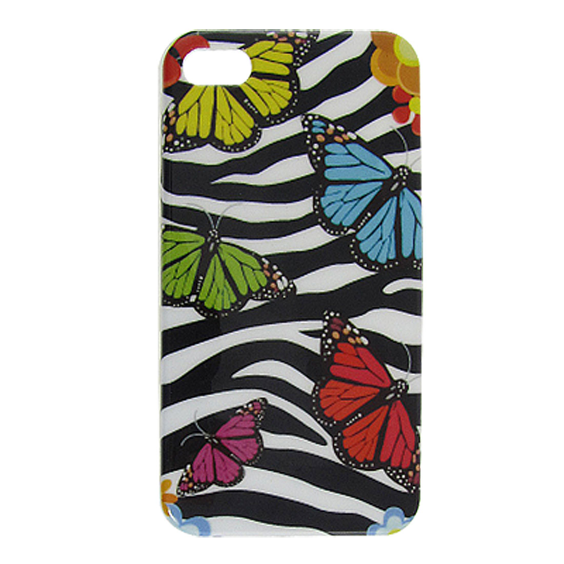 Zebra Pattern Butterflies Print Back Cover Shell for iPhone 4 4G 4GS 4S