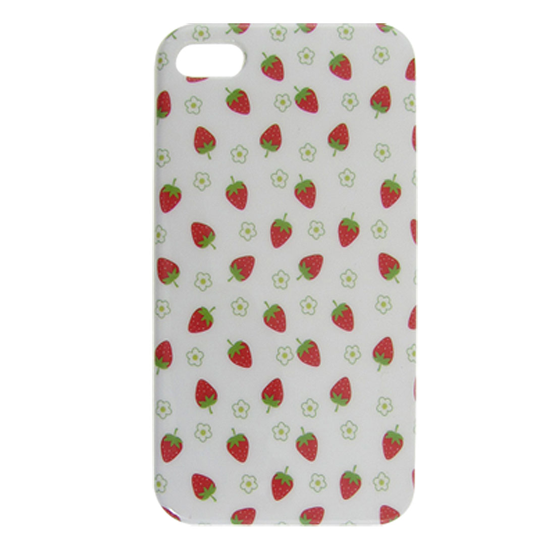 Green Flower Red Strawberry Print IMD White Plastic Cover for iPhone 4 4G 4GS