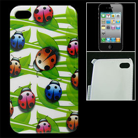IMD Green Leaf Ladybug Print Hard Plastic Back Case for iPhone 4 4G 4S