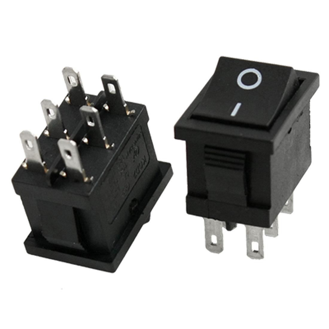 2 x AC 6A/250V 10A/125V 6 Pin DPDT ON/ON 2 Position Snap in Boat Rocker Switch