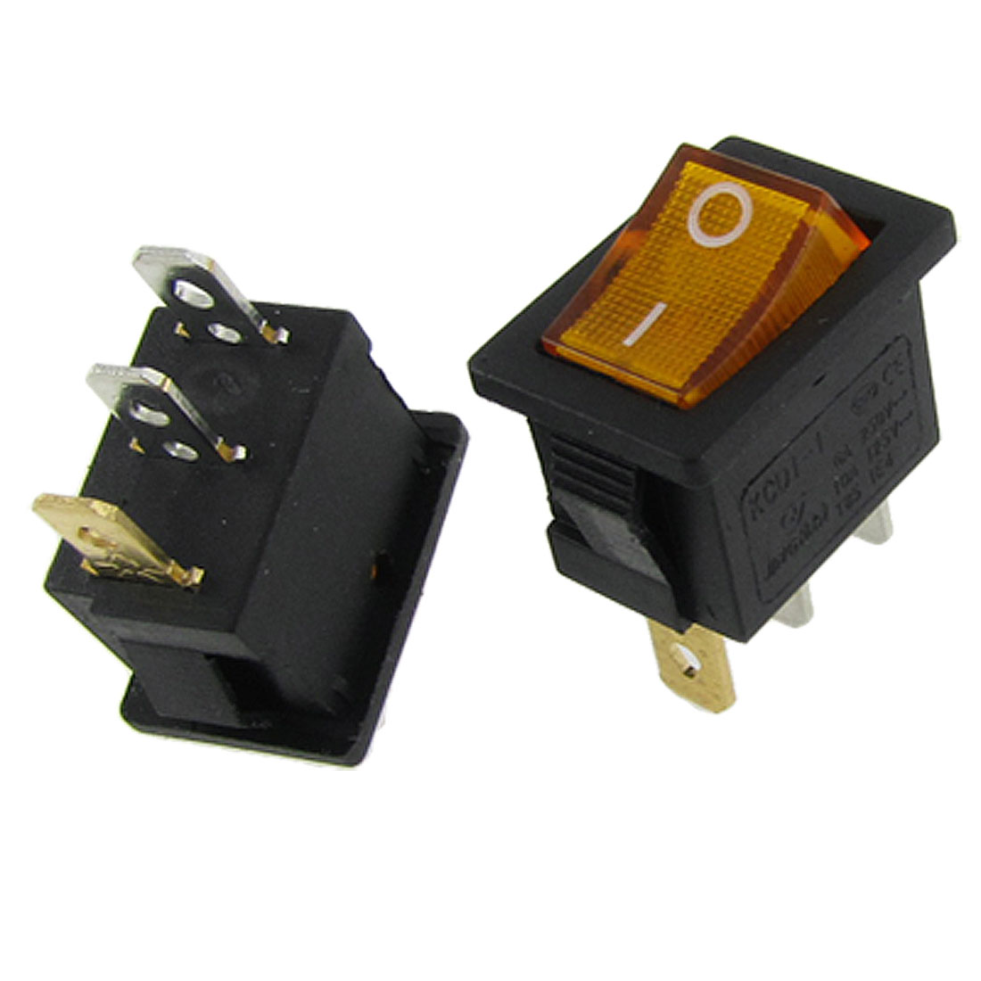 AC 6A/250V 10A/125V Yellow Neon Light Illuminated On-Off SPST Rocker Switch 2 Pcs