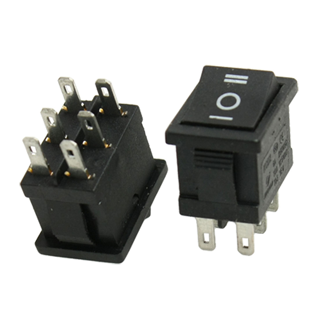 2 Pcs 6 Pin on-off-on DPDT Snap In Boat Rocker Switches 250V/6A 125V/10A AC