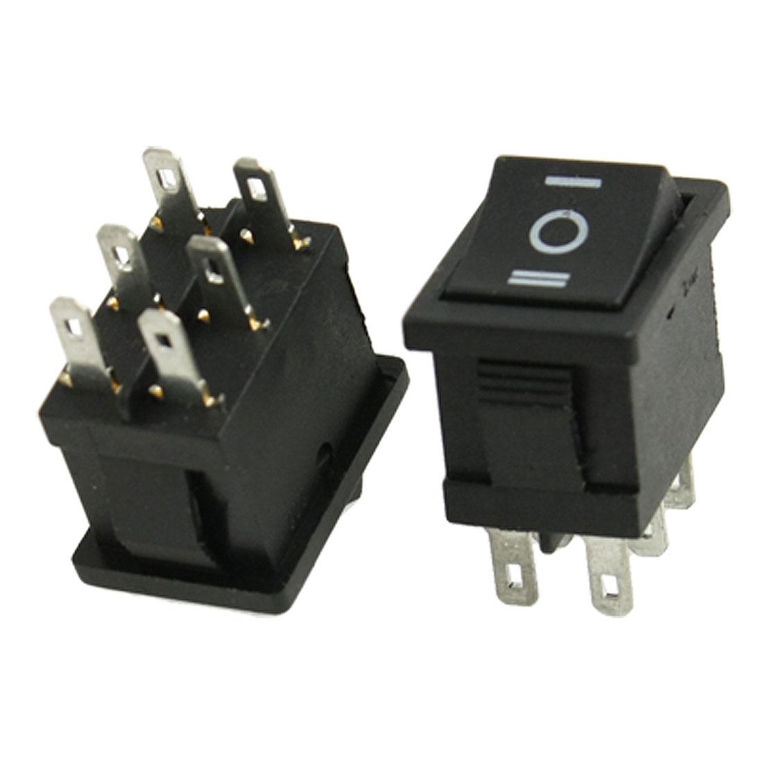 5 Pcs 6 Pin DPDT ON-OFF-ON 3 Position Snap in Rocker Switch 6A/250V 10A/125V AC
