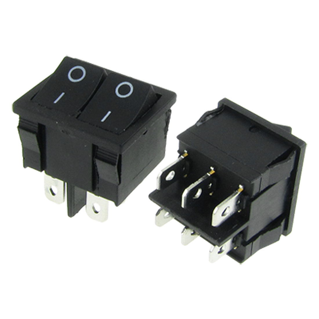 2pcs 6 Pin Double SPDT On-On Snap in Boat Rocker Switch 6A/250V 10A/125V AC Black