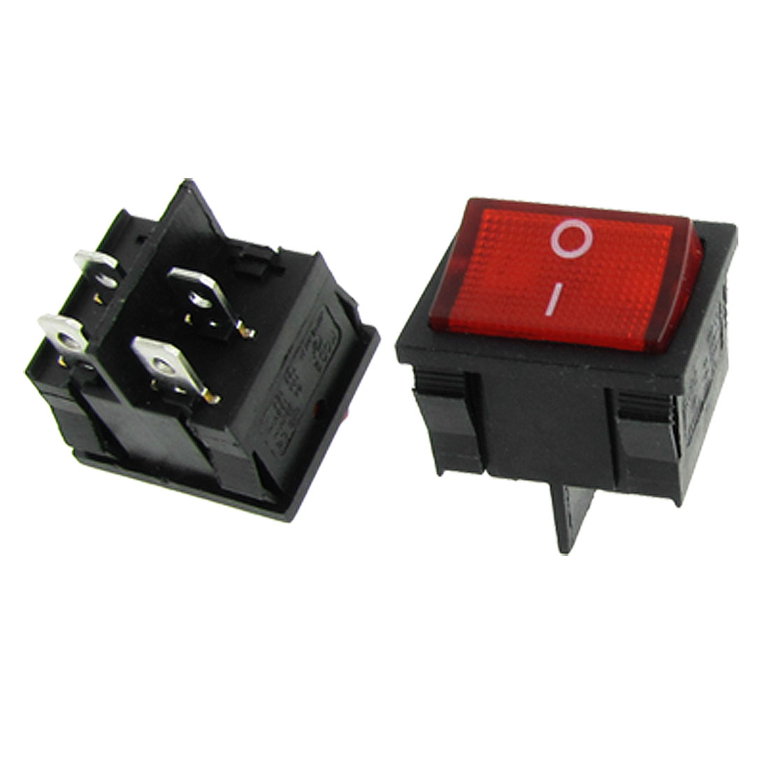 AC 6A/250V 10A/125V DPST On-Off 2 Position Red Neon Light Rocker Switch x 5 Pcs