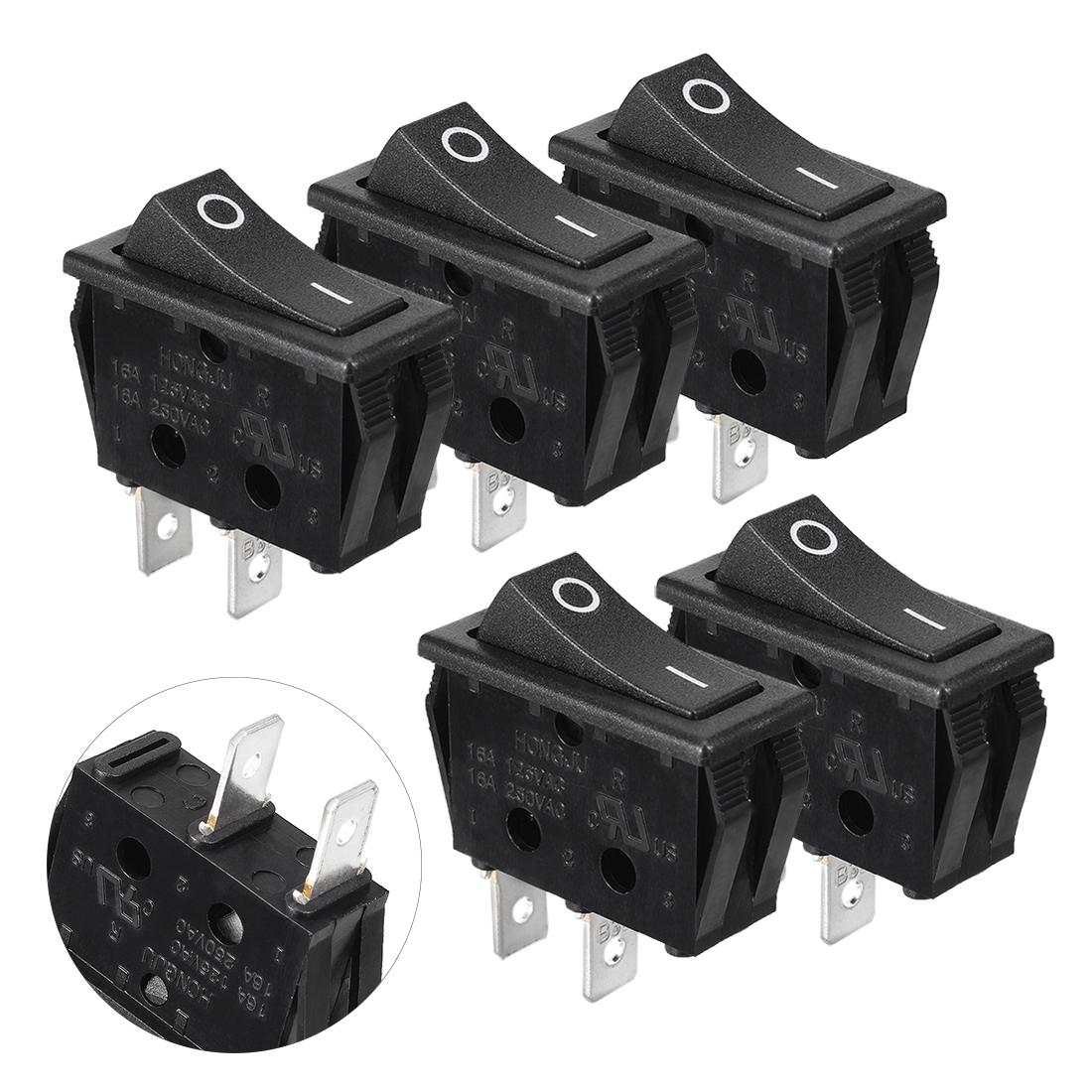 5 Pcs 2 Solder Lug Pin SPST on off Snap In Boat Rocker Switch Rectangular Black