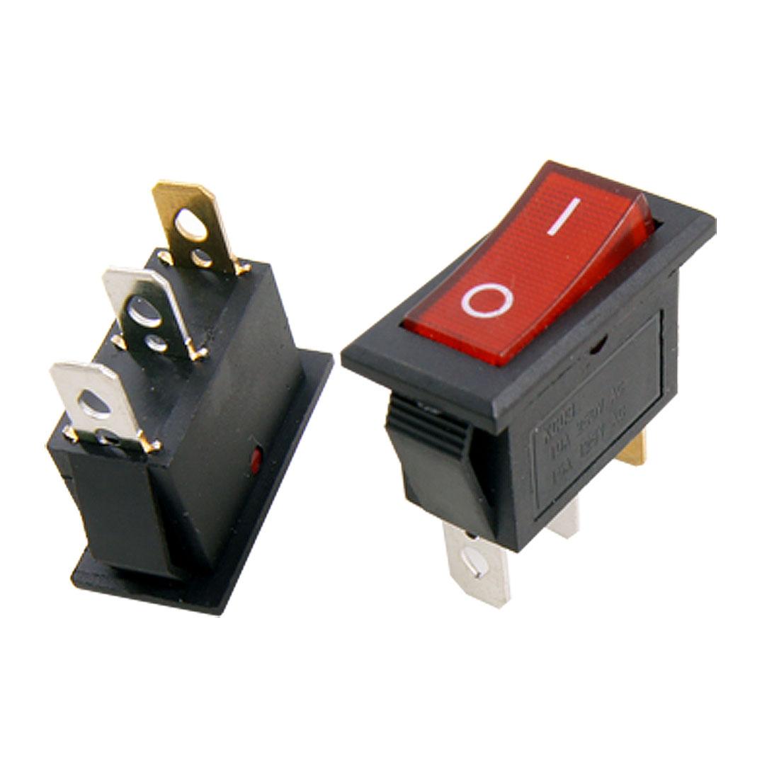 5 Pcs Red Light Lamp On-Off 2 Position SPST Boat Rocker Switch 3 Solder Lug Terminals