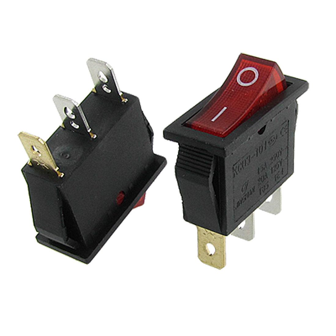 10pcs Red Light ON/OFF SPST Snap in Boat Rocker Switch 3Pin 15A/250V 20A/125V AC