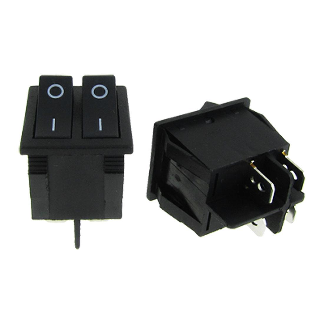 5 Pcs x Black ON-OFF Double SPST 2 Gang Boat Rocker Switch 15A/250V 20A/125V AC