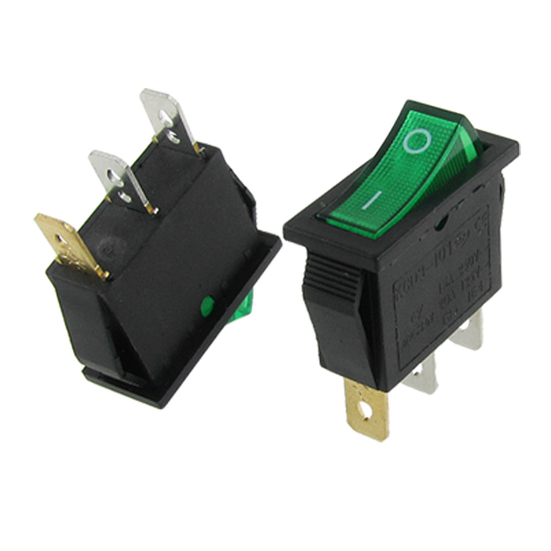 Green Light Illuminated ON-OFF 2 Position SPST Boat Rocker Switch 3 Pin x 2 Pcs