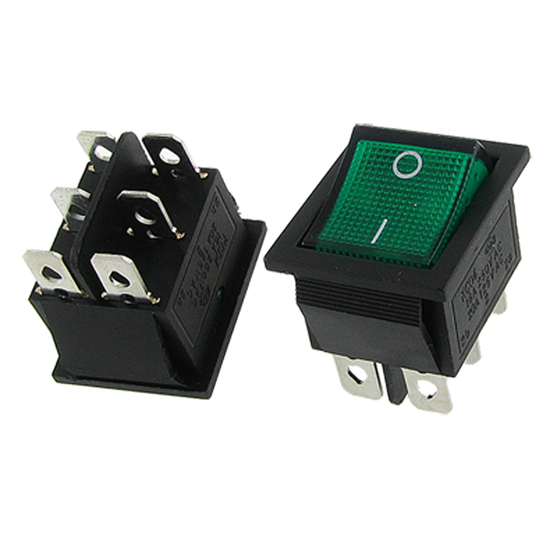 2 Pcs x Green Neon Lamp Light ON-ON I/O 2 Position DPDT Boat Rocker Switch 6 Pin