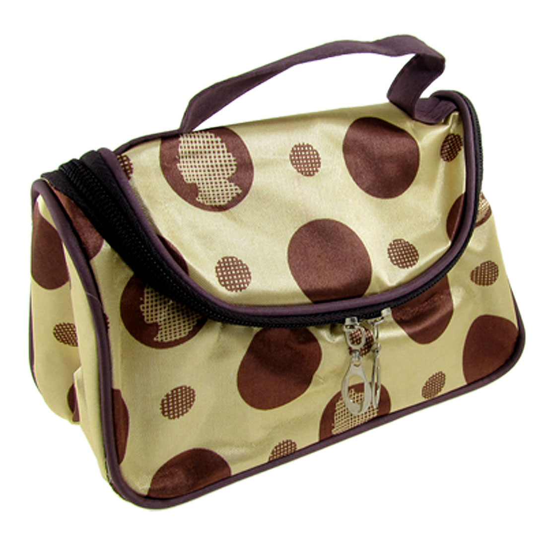 Beige Coffee Color Dotted Cosmetic Fabric Pouch Make Up Handbag