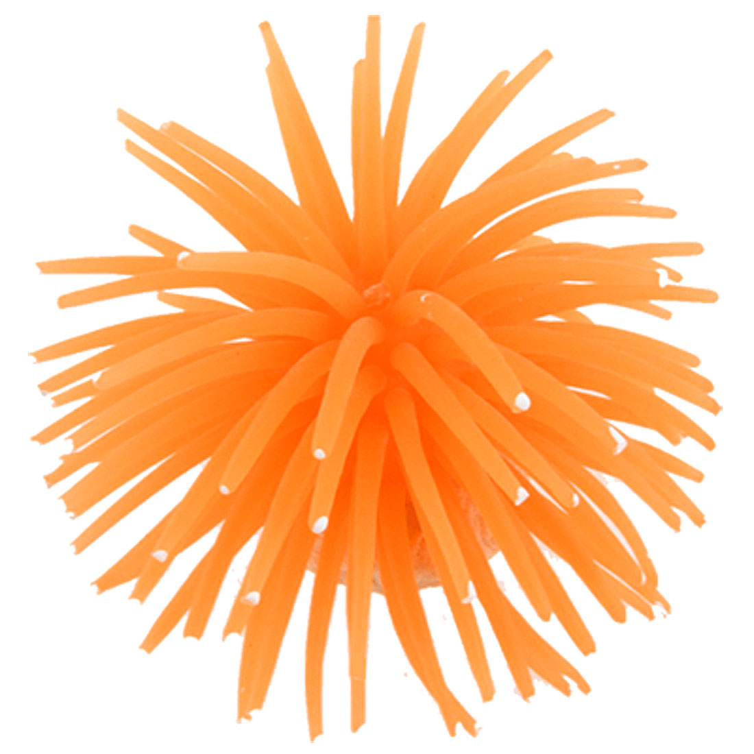 "Aquarium Orange 3"" Dia Soft Silicone Sea Urchin Landscaping Ornament"