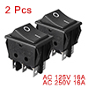 2 Pcs Black 6 Pin on/on 2 Position DPDT Boat Rocker Switch 250V/16A 125V/20A AC