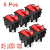 5 Pcs Red Light Illuminated Double SPST Snap IN Boat Rocker Switch 6P AC 16A/250V