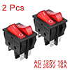 2 Pcs Double SPST 2 Position Red Neon Light Boat Rocker Switch 6P UL Listed
