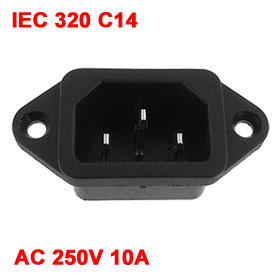 IEC 320 C14 Male Plug 3 Pins PCB Panel Power Inlet Socket Connector AC 250V 10A
