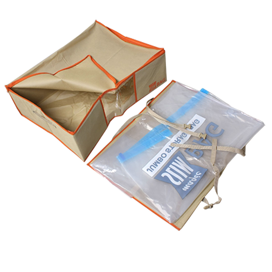 Foldable Beige Non Woven Storage Box Case w Vacuum Seal Compressed Bag