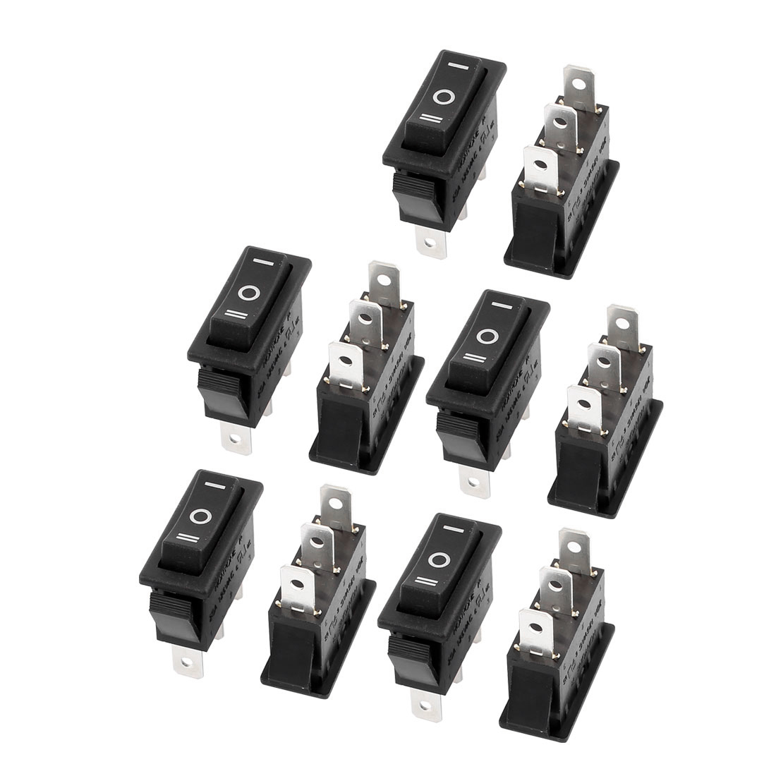 10 Pcs AC 6A/250V 10A/125V 2 Solder Lug SPST On/Off Mini Boat Rocker Switch