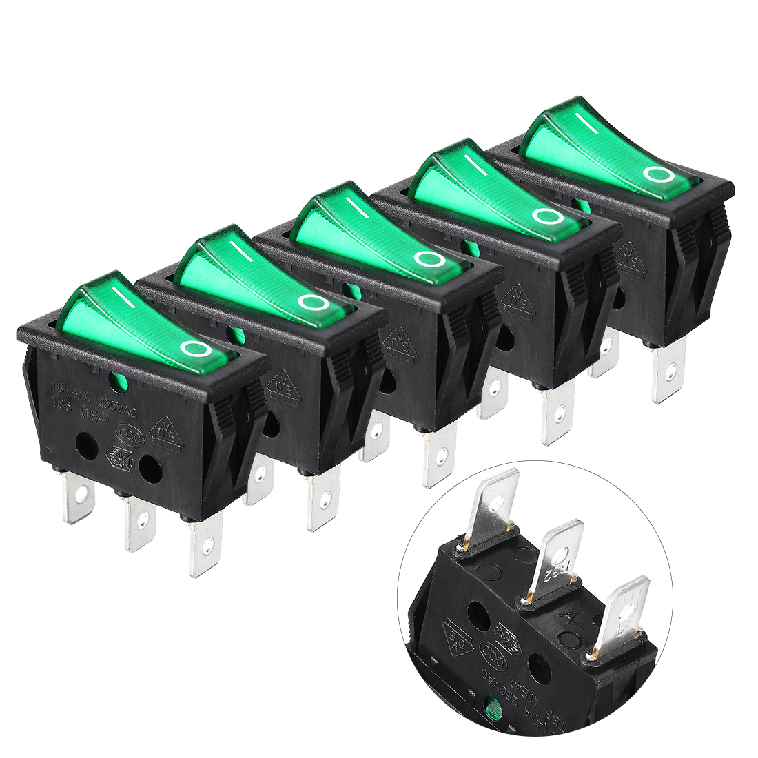 AC 16A/250V Green Light ON/OFF SPST Boat Rocker Switch 5pcs