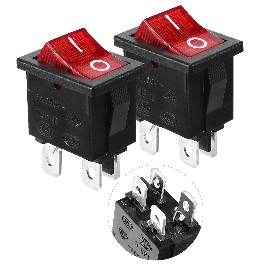 2pcs Red Light 4 Pin DPST ON-OFF Snap in Boat Rocker Switch 6A/250V 10A/125V AC