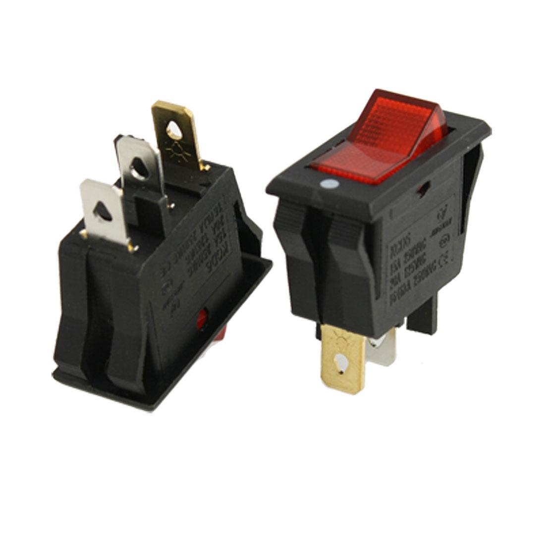 AC 15A/250V 20A/125V Red Light ON-OFF SPST Snap in Boat Rocker Switch x 5pcs