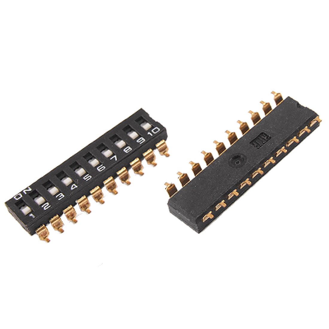 2 Pcs 2.54mm Pitch 10 Position Way Gold Tone 20 Pin SMD SMT DIP Switch Black