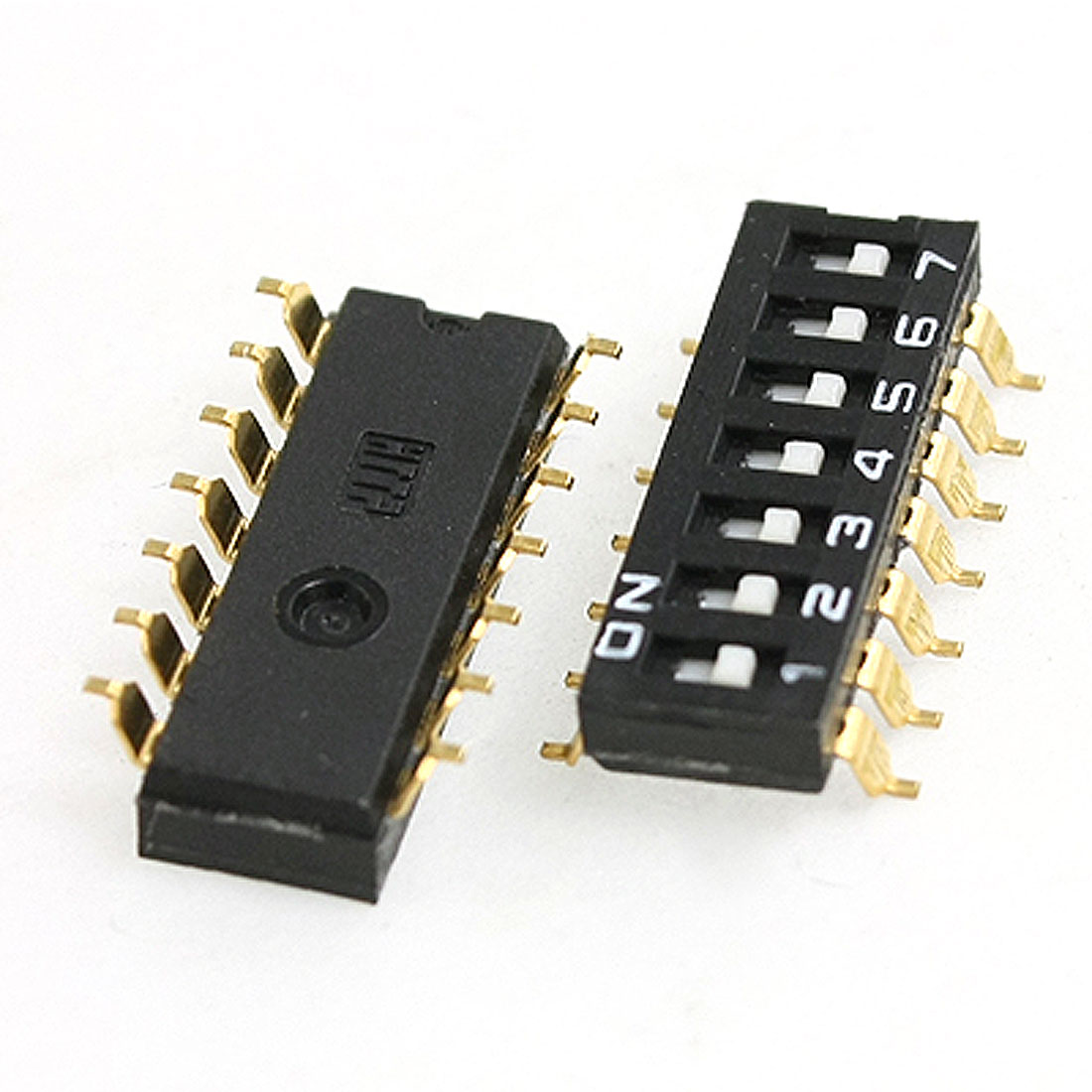 2 Pcs 7 Positions 2 Row 2.54mm SMT SMD DIP Switch Black