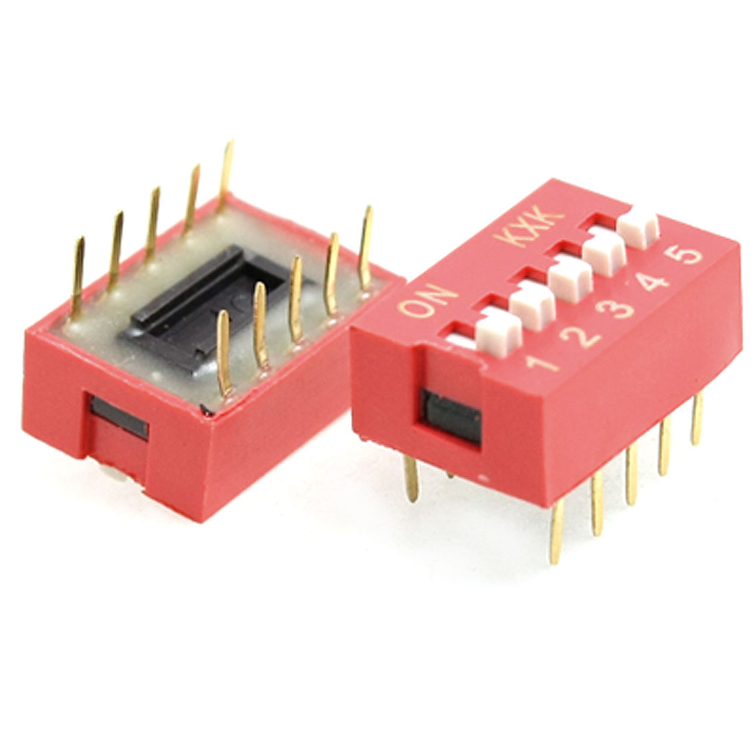 10 Pcs Red Double Row 10 Pin 5P Positions DIP Switch 2.54mm Pitch