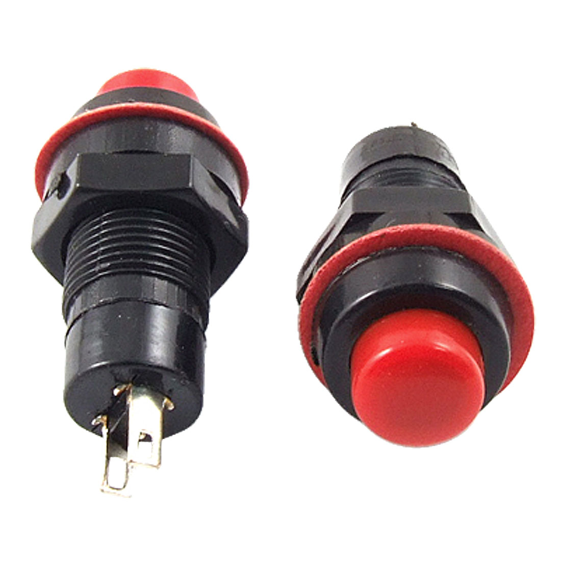 3 x AC 250V 1A 2 Terminals SPST OFF/(ON) NO N/O Round Momentary Push Button Switch Red
