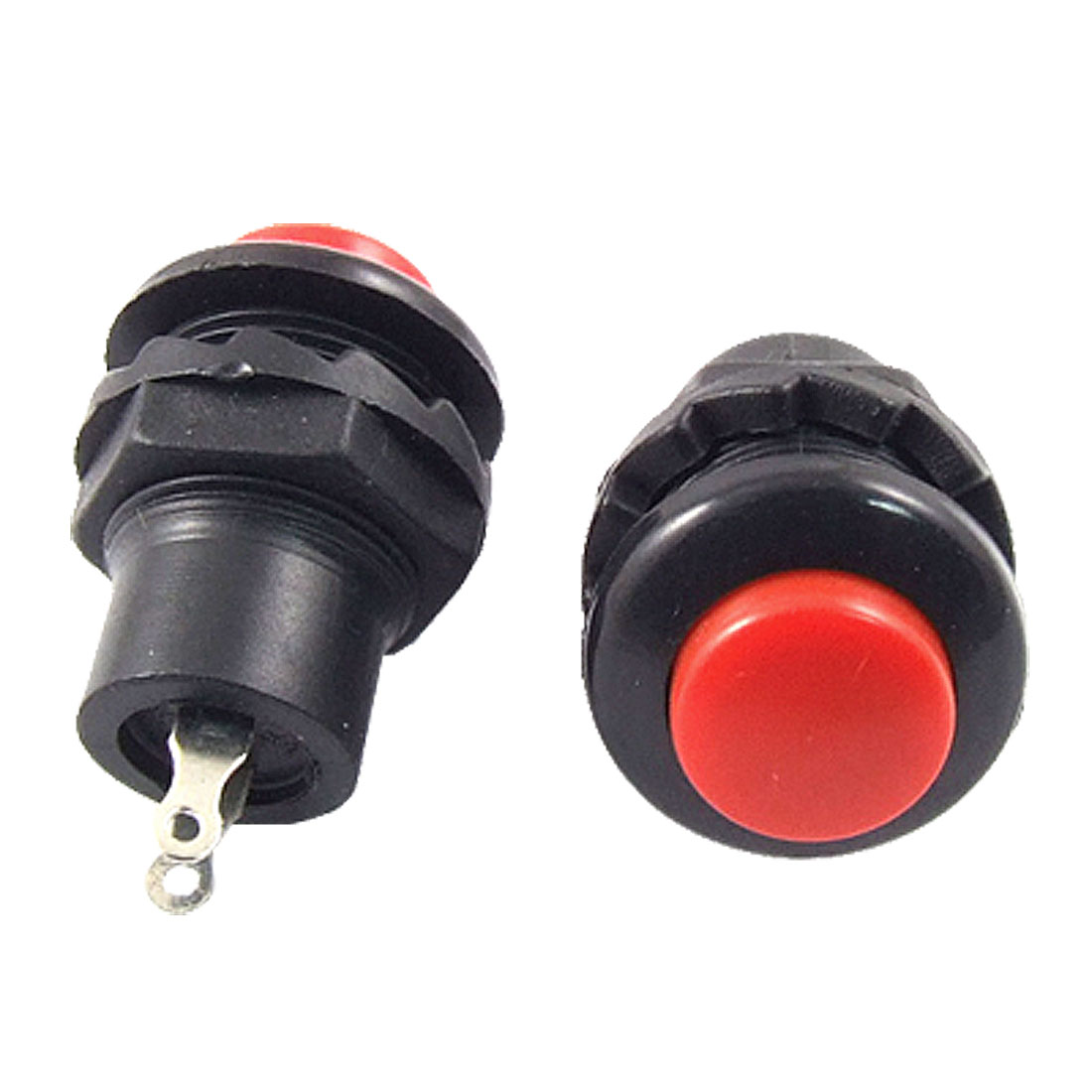 3 Pcs x 2Terminals SPST OFF-(ON) N/O NO Red Round Cap Momentary Push Button Switch