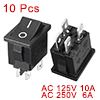 AC 6A/250V 10A/125V 4 Pin I/O DPST Snap in Boat Rocker Switch 10pcs