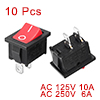 10 Pcs AC 10A/125V 6A/250V 2 Pole SPST ON/OFF Mini Boat Rocker Switch