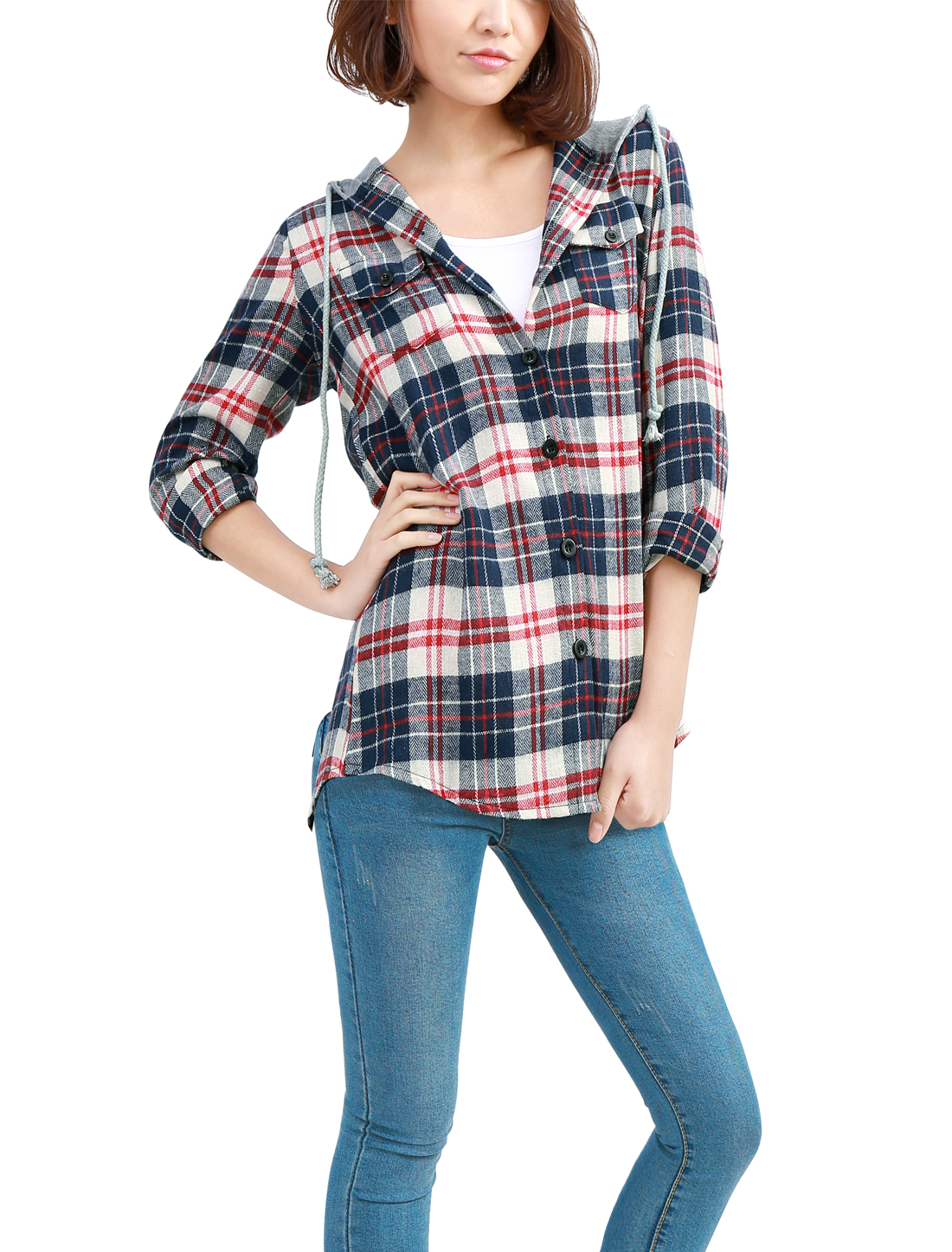Lady Round Hem Long Sleeve Drawstring Hoodie Plaid Top Dark Blue S