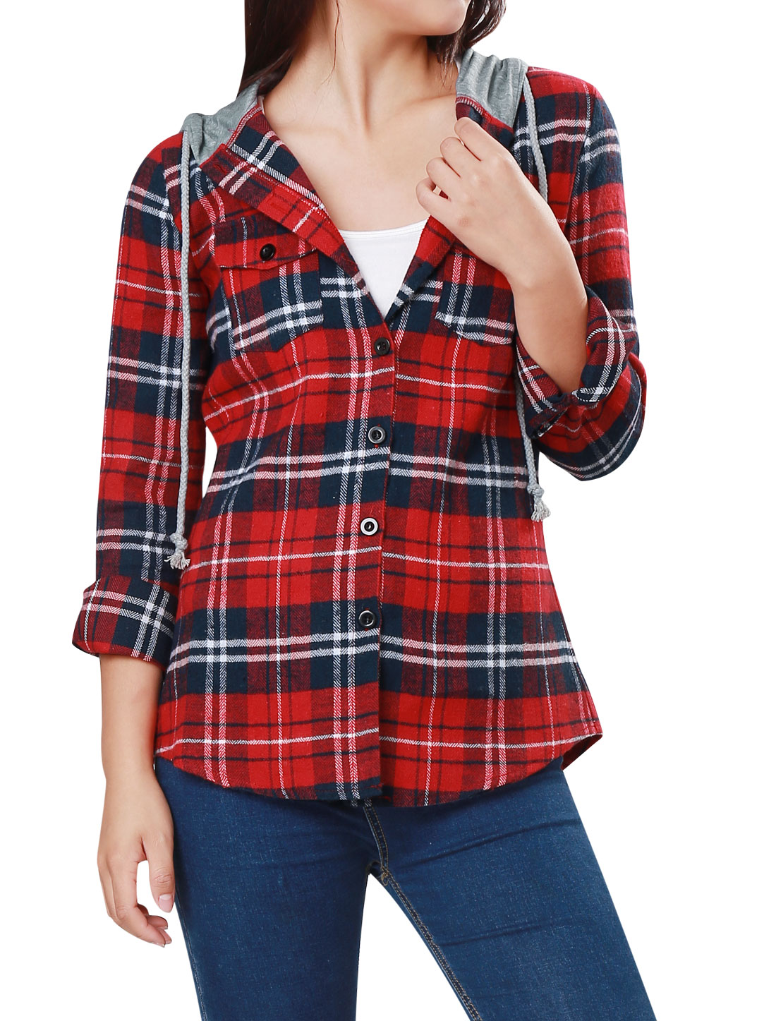 Flap Patch Pockets Long Sleeve Hooded Plaid Shirt Top Red S for Woman