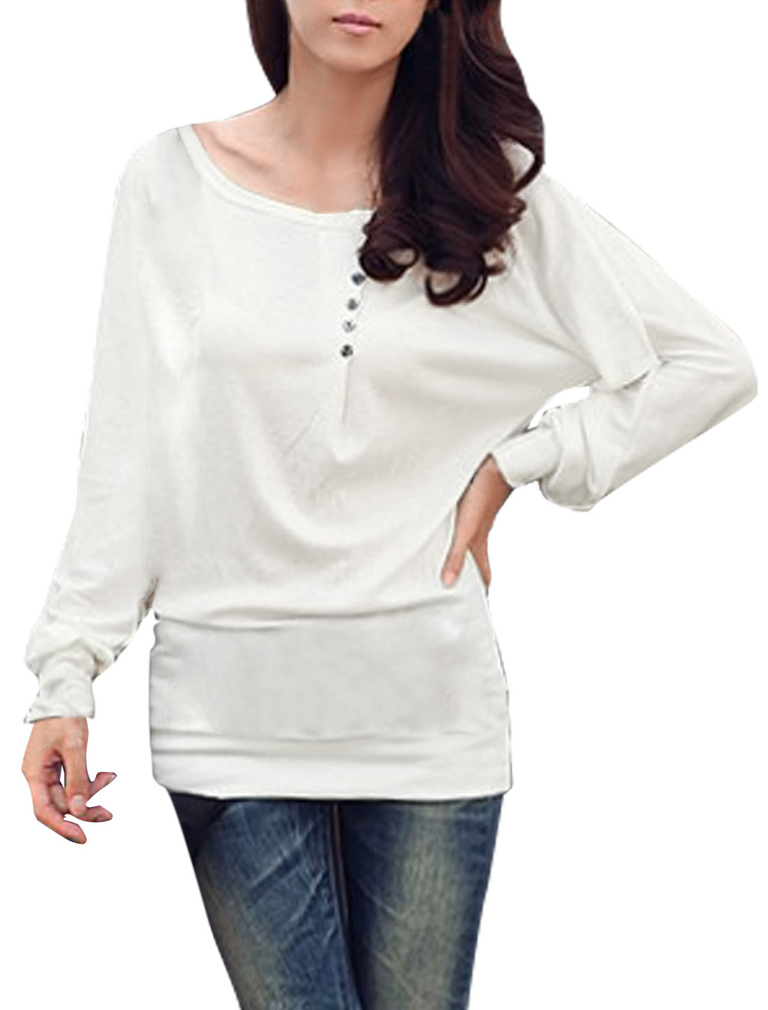 White Batwing Style Long Sleeve Boat Neck Autumn Shirt XS for Women