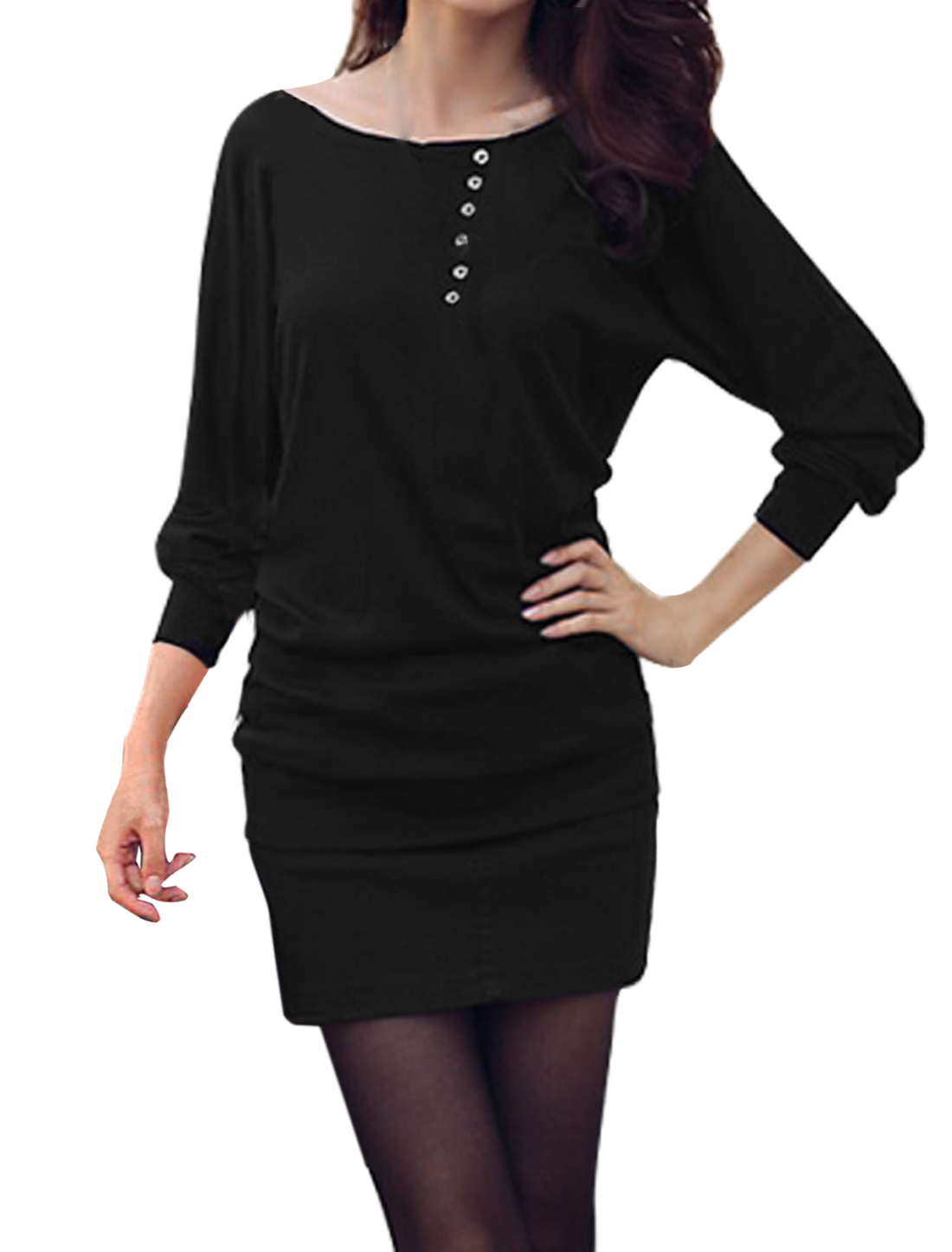 XS Batwing Style Long Sleeve Boat Neck Solid Black Shirt for Women