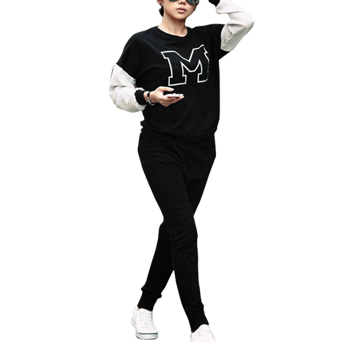 Woman Black Round Neck Letter Print Sweatshirt Top XS + Elastic Waist Pants