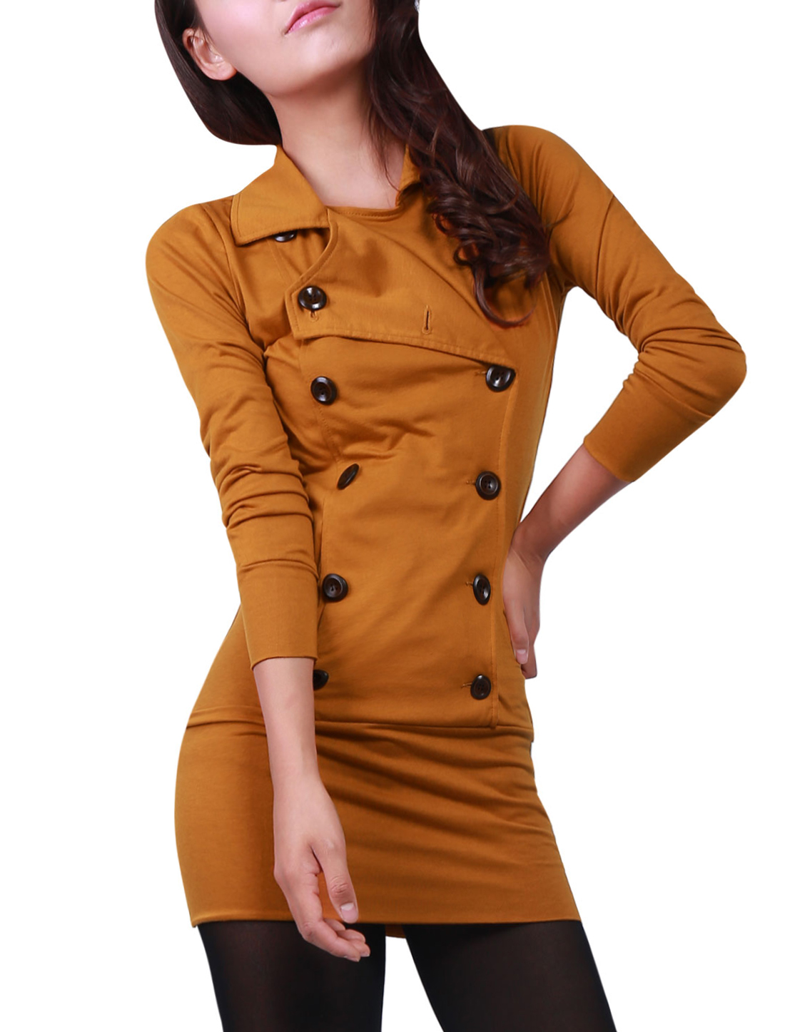 Woman Long Sleeve Double Breasted One-piece Dress Brown XS