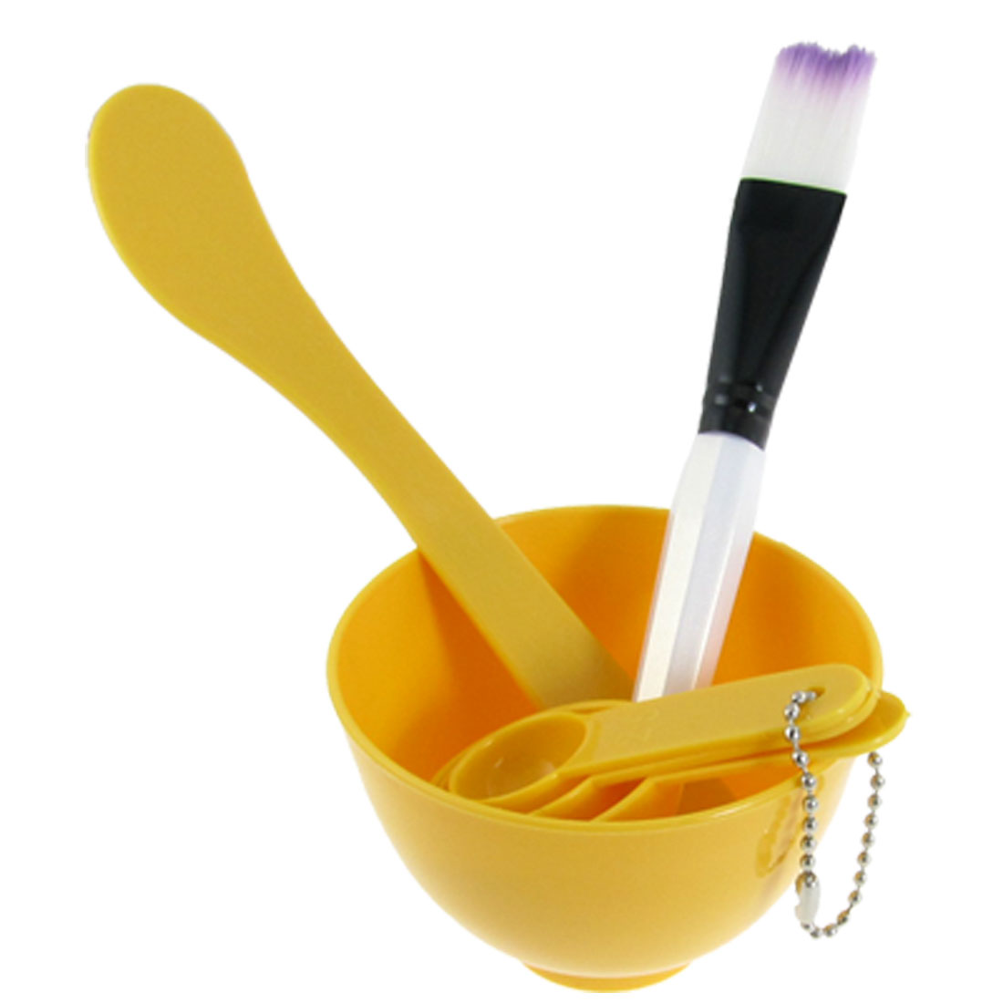 Yellow DIY Mask Bowl Brush Gauge Spoons Stick Facial Tools Set