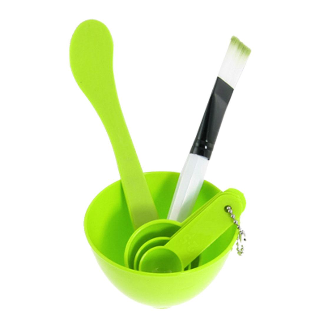Green 4 In 1 Homemade DIY Facial Mask Bowl Gauge Spoons Stick Tools Set