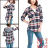 Allegra K Woman Flap Patch Pockets Hooded Plaid Top Dark Blue S