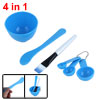 Packed 4 In 1 Blue DIY Facial Homemade Mask Bowl Brush Spoon Stick Tools Set