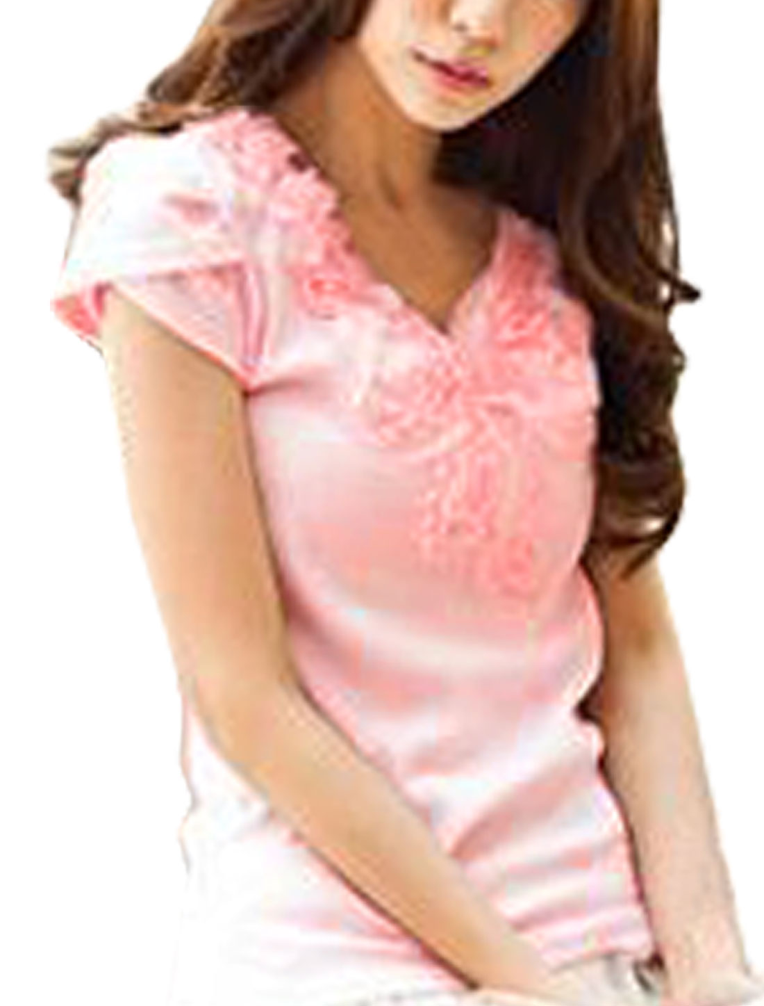 Light Pink Flower Detail V Neck Stretchy Short Sleeve Shirt XS for Lady