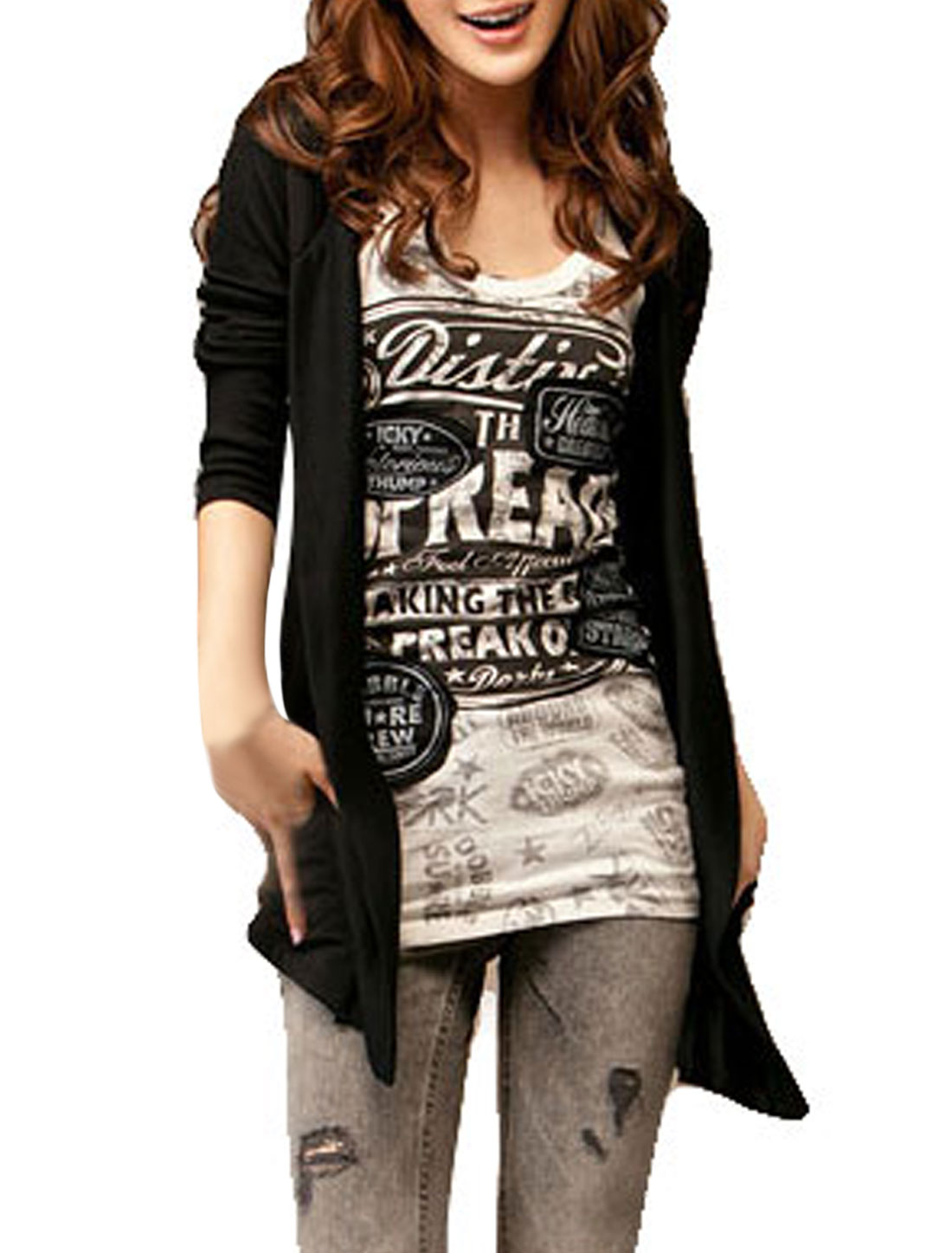 Women Front Opening Long Sleeves Hooded Cardigan Black XS