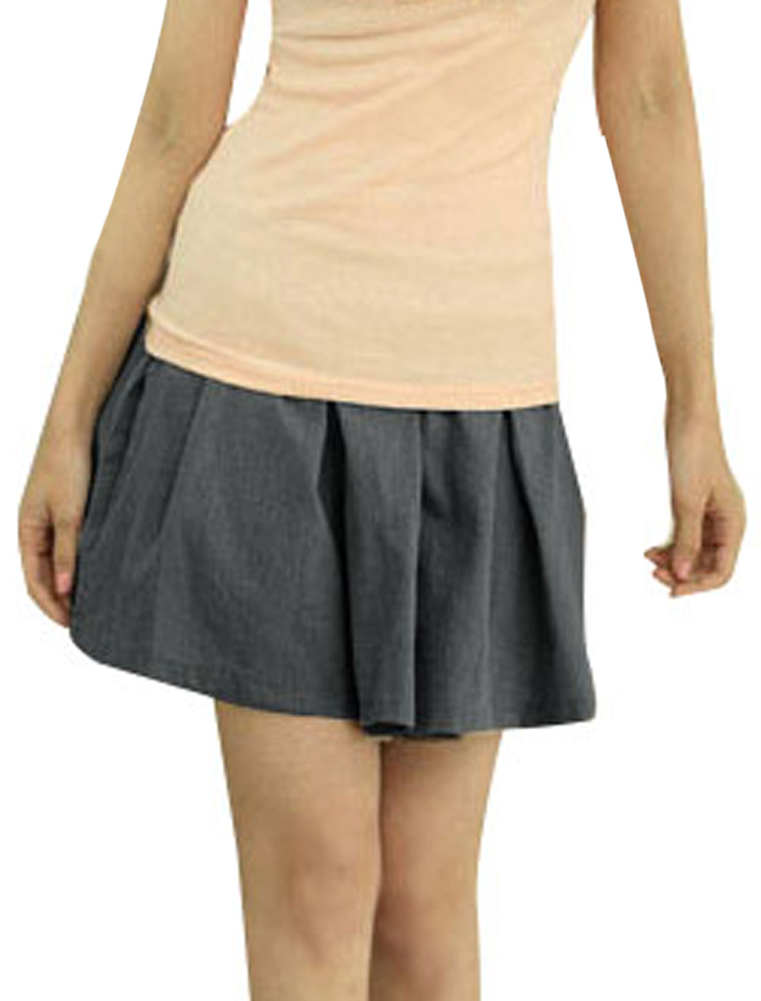 Women Dark Gray Elastic Waist Divided Skirt Pantskirt XS